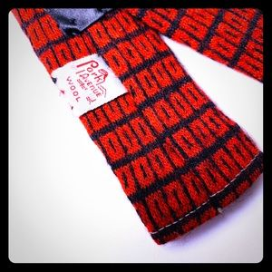 Vintage Wool Skinny Tie Park Ave Red & Black 50s